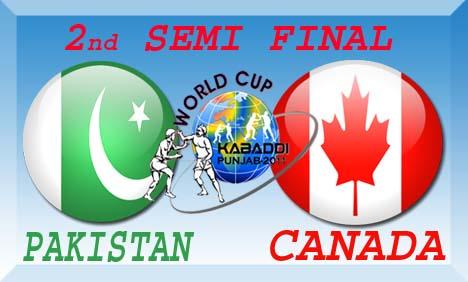 Pakistan vs Canada 2nd Semi Final Kabaddi World Cup 2011 Live Streaming
