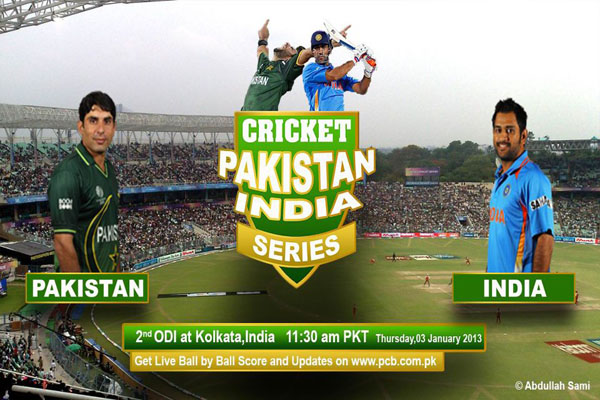 Pakistan vs India 2nd ODI Cricket Match 3 January 2013 Live From Kolkata
