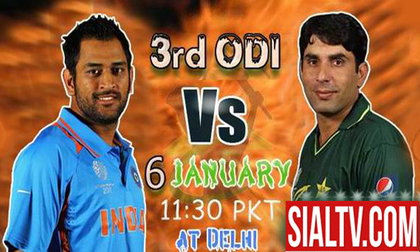 Pakistan vs India 3rd ODI Cricket Match 6 January 2013 Live From Delhi