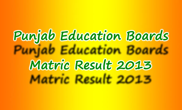 All Punjab Boards Matric (10th Class ) Result 2013 announced