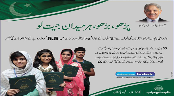 Shahbaz Sharif rewards Matric position holders from all over Punjab