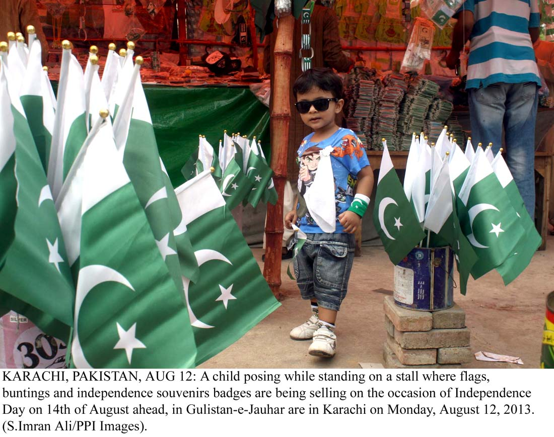 Cute Baby Posing with National Flags