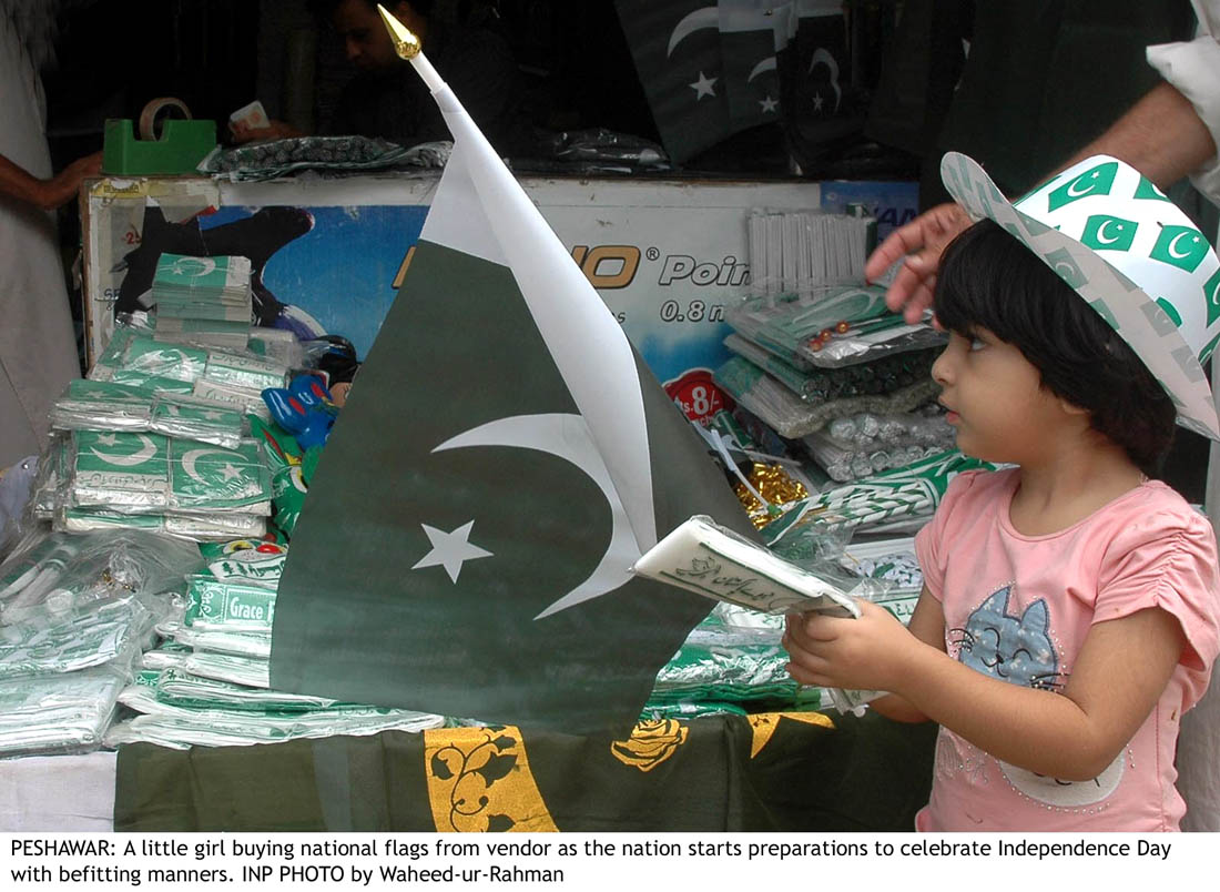 Cute Girl Buying National Flag
