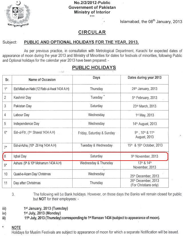 Iqbal Day Holiday Notification November 9, 2013