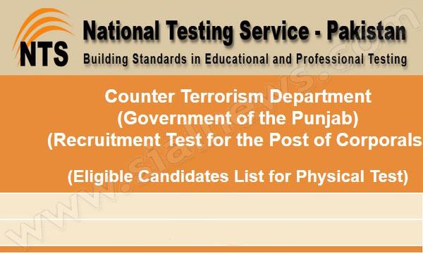 Anti Terrorism Force NTS test Roll No. Slips, Candidate List