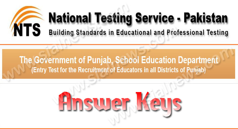 Punjab Nts Educator Test Answer key BPS-9 NTS Result 31th December,2013