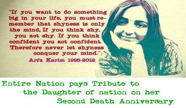 Arfa Karim being remebered on her 2nd Death Anniversary