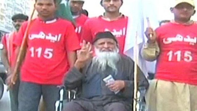 Abdul Sattar Edhi leads Rally for Peace in Karachi