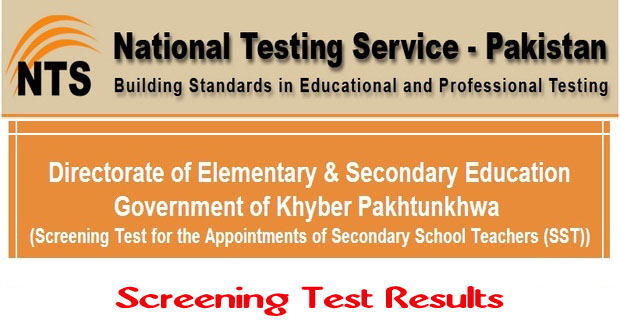 SST Screening Test Result 2014 for the Appointments of Secondary School Teachers (KPK)