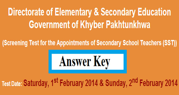 KPK Jobs of SST Screening Test by NTS 1st February 2014 Answer key