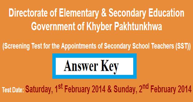 KPK Jobs of SST Screening Test by NTS 2nd February 2014 Answer key