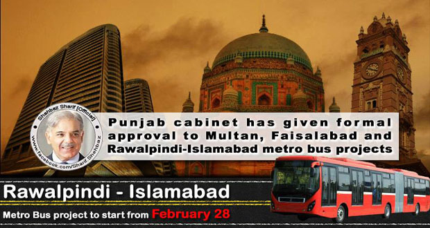 Metro bus projects approved for Faisalabad, Multan and Rawalpindi