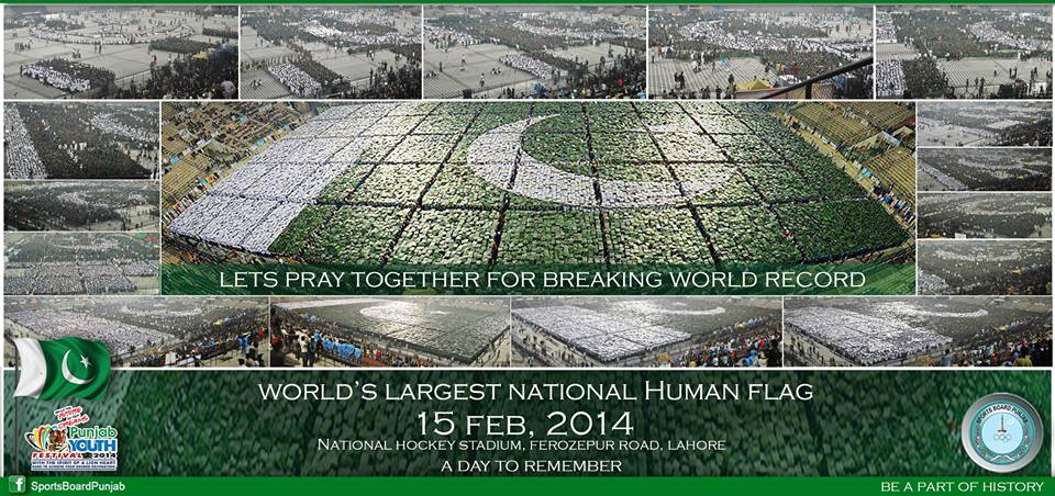 Watch Live Making of World's Largest National Human Flag 15th Feb 2014