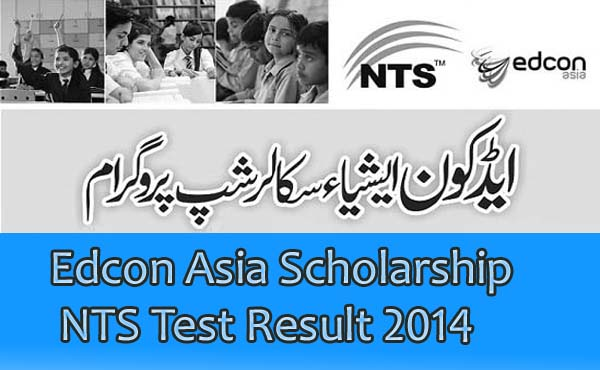 Edcon Asia Scholarship NTS Test Result 2014 announced
