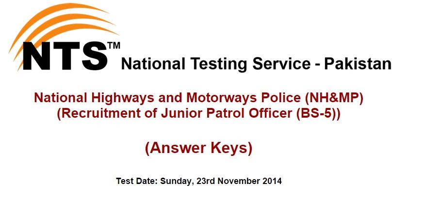 NH&MP NTS Written Test Answer Keys & Result 2014 Online