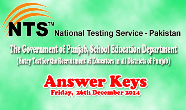ESE SESE SSE Educators NTS Test 26th December 2014 Answer Keys