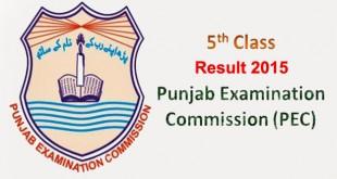 PEC 5th Class Result 2015