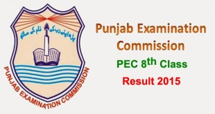 Punjab Education Commission (PEC) 8th Class Result 2015 Announced