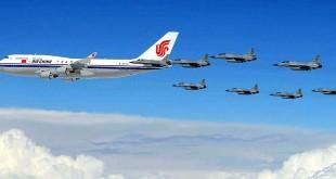 JF-17 Thunder Escorting Chinese President's Plane