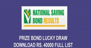 National Savings Prize Bond Draw Rs. 40000