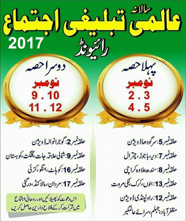 Raiwind Tablighi Ijtema 2017 Halqa Wise List
