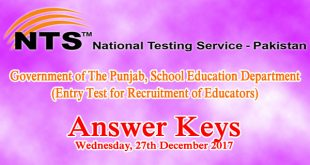 Punjab Educators NTS Entry Test Answer Keys 27th December 2017