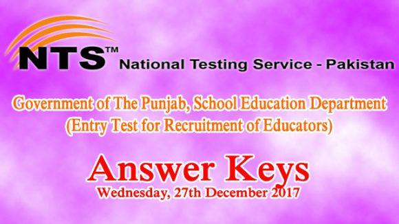 Educators NTS Entry Test Answer Keys 27th December 2017