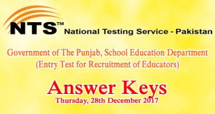 Punjab Educators NTS Entry Test Answer Keys 28th December 2017 Online