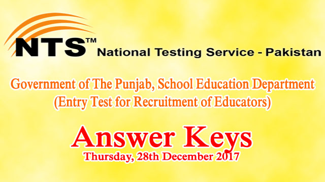 Educators NTS Entry Test Answer Keys 28th December 2017
